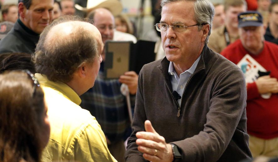 Republican presidential candidate former Florida Gov. Jeb Bush greets voters during a campaign stop Friday, Feb. 5, 2016, in Concord, N.H. (AP Photo/Jim Cole)
