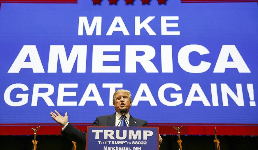 Republican presidential candidate, businessman Donald Trump  addresses the crowd during a campaign rally Monday, Feb. 8, 2016, in Manchester, N.H. (AP Photo/David Goldman)