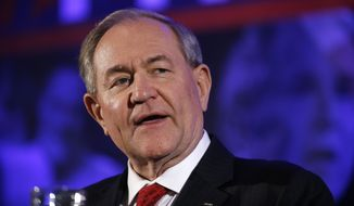 Republican presidential candidate and former Virginia Gov. Jim Gilmore speaks at the New Hampshire Republican Party summit in Nashua, N.H., on Jan. 23, 2016. (Associated Press) **FILE**