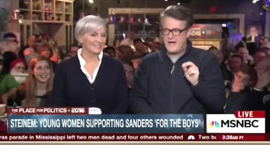 """MSNBC's Joe Scarborough ranted against feminists Gloria Steinem and Madeline Albright for supporting Hillary Clinton after they """"ignored"""" her husband's """"sexual exploitation"""" of Monica Lewinsky. (MSNBC)"""
