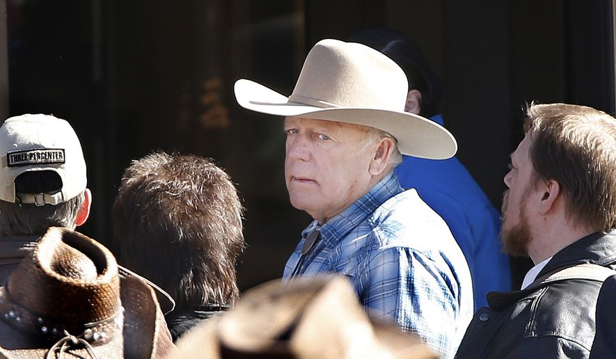 Cliven Bundy attends the funeral for friend LaVoy Finicum in Kanab, Utah,  Friday, Feb. 5, 2016. Finicum was shot to death by law enforcement while he and other anti-government activists flocked to rural Harney County in Oregon.  (Jeffrey D. Allred/The Deseret News via AP)