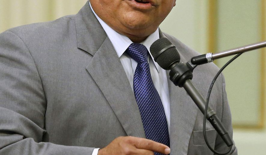 FILE - This Sept. 3, 2013 file photo shows Assemblyman Rocky Chavez, R-Oceanside, at the Capitol, in Sacramento, Calif. The Republican legislator is ending his struggling campaign for U.S. Senate in California. The departure Monday, Feb. 8, 2016, of Chavez could improve the chances of one of the remaining Republicans in a June primary in which only the top two vote-getters advance to the November ballot.(AP Photo/Rich Pedroncelli, file)