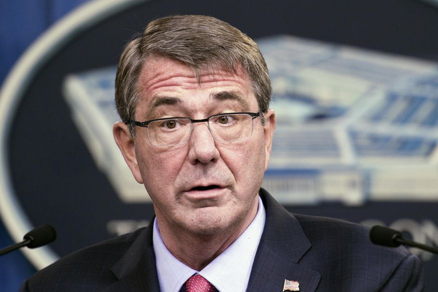 FILE - In this Jan. 28, 2016 file photo, Defense Secretary Ash Carter speaks during a news conference at the Pentagon. To doubters of its strategy for defeating the Islamic State , the Obama administration likes to tout its coalition of 66 nations and claim strength in numbers. But a year and a half into the war, some administration officials are acknowledging that this supposed source of strength has its own weaknesses.  (AP Photo/Cliff Owen, File)