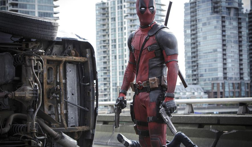 "This image released by Twentieth Century Fox shows Ryan Reyonlds in a scene from ""Deadpool."" (Joe Lederer/Twentieth Century Fox Film Corp. via AP)"