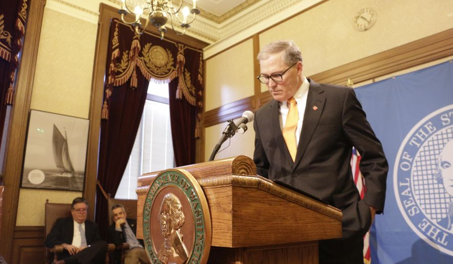 "Gov. Jay Inslee speaks with the media about the recent ouster on the Senate floor of his appointment to the state Department of Transportation, Monday, Feb. 8, 2016, in Olympia, Wash. Inslee blasted Senate Republicans for their vote, calling it ""an election-year stunt.""(AP Photo/Rachel La Corte)"