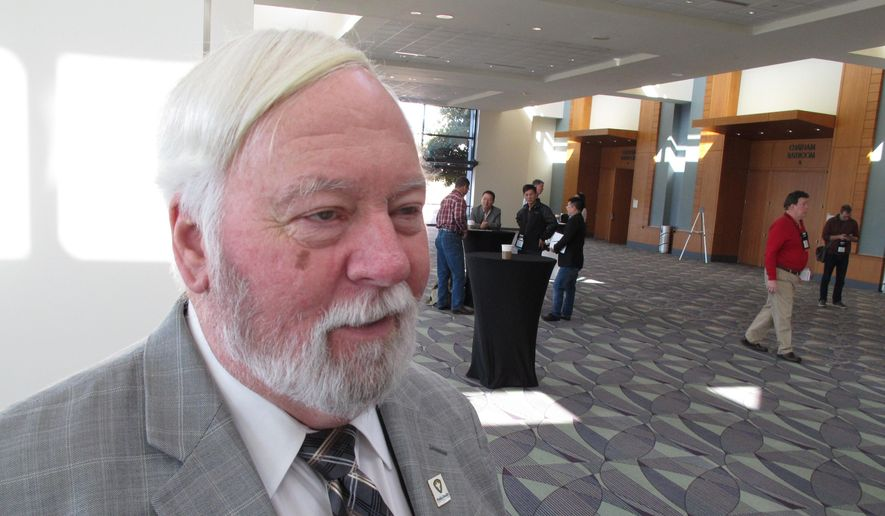 Joe Conlon, technical adviser for the American Mosquito Control Association, discusses challenges associated with fighting the mosquito that carry the Zika virus during the association's annual conference in Savannah, Georgia, on Monday, Feb. 8, 2016. (AP Photo/Ross Bynum)