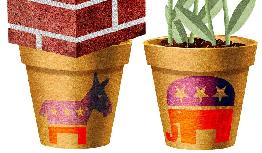 Illustration on the policy messages of Democrats and Republican by Alexander Hunter/The Washington Times