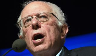 Democratic presidential candidate Sen. Bernie Sanders, I-Vt., speaks during a campaign stop at the Pinkerton Academy Stockbridge Theatre, Monday, Feb. 8, 2016, in Derry, N.H. (AP Photo/John Minchillo)