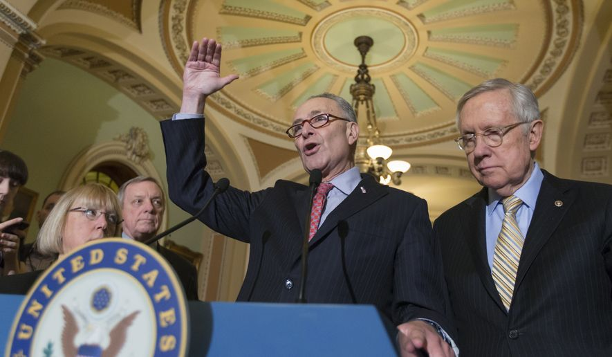 Sen. Charles Schumer, D-N.Y., center, joined from left, Sen. Patty Murray, D-Wash., ranking Democrat on the Senate Budget Committee, Senate Minority Whip Richard Durbin of Ill. and Senate Minority Leader Harry Reid of Nev. talks to reporters on Capitol Hill in Washington on Feb. 9, 2016, following a closed-door policy meeting. (Associated Press) **FILE**