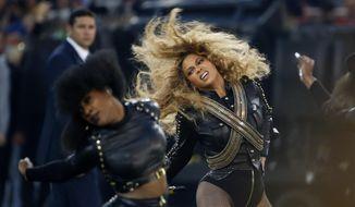 Beyonce performs during halftime of the NFL Super Bowl 50 football game in Santa Clara, Calif. (AP Photo/Matt Slocum, File)