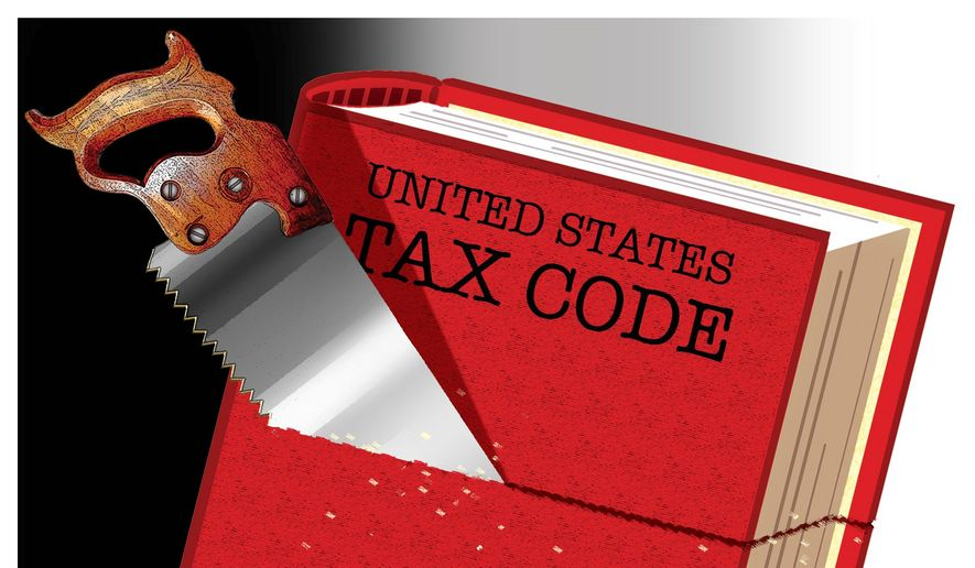 Illustration on reforming the tax code as a means of reviving the economy by Alexander Hunter/The Washington Times
