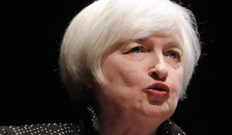 Federal Reserve Chair Janet Yellen speaks on inflation dynamics and monetary policy at the University of Massachusetts, in Amherst, Mass., in this Thursday, Sept. 24, 2015, file photo. Yellen begins two days of congressional testimony on Wednesday, Feb. 10, 2016. (AP Photo/Jessica Hill, File)