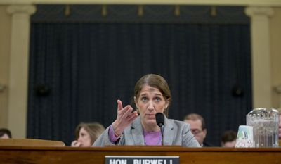 Health and Human Services (HHS) Secretary Sylvia Mathews Burwell testifies on Capitol Hill in Washington, Wednesday, Feb. 10, 2016, before the House Ways and Means Committee hearing on the fiscal 2017 HHS budget. Burwell has ashes on her forehead, Wednesday being Ash Wednesday.  (AP Photo/Alex Brandon)