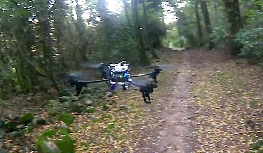 Swiss researchers have developed a rescue drone capable of navigating rough terrain and forest trails through artificial intelligence and unique software. (Credit UZH;USI;SUPSI)