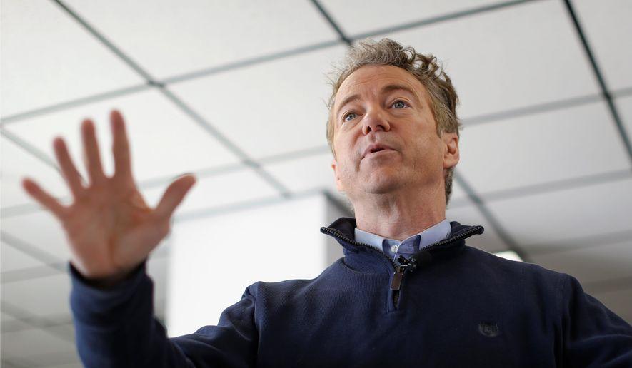 Sen. Rand Paul, Kentucky Republican, in an undated file photo. (Associated Press) **FILE**