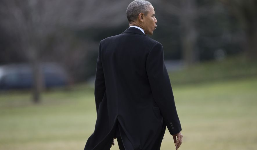 President Barack Obama whistles as he walks to board Marine One on the South Lawn of the White House in Washington, Wednesday, Feb. 10, 2016, for a short trip to Andrews Air Force Base, Md., then onto Springfield, Ill. (AP Photo/Evan Vucci)