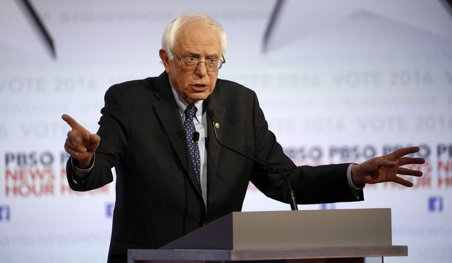 Democratic presidential candidate Sen. Bernard Sanders makes a point during the Democratic presidential primary debate at the University of Wisconsin-Milwaukee on Thursday. (Associated Press)