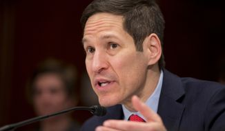 CDC Director Thomas Frieden testifies on Capitol Hill in Washington, Thursday, Feb. 11, 2016, before a Senate Appropriations subcommittee hearing on emerging health threats and Zika virus supplemental request.  (AP Photo/Manuel Balce Ceneta)AP Photo/Manuel Balce Ceneta)