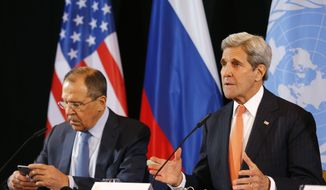 U.S. Secretary of State John Kerry, right, and Russian Foreign Minister Sergey Lavrov attend a news conference after the International Syria Support Group (ISSG) meeting in Munich, Germany, Friday, Feb. 12, 2016. Talks aimed at narrowing differences over Syria and keeping afloat diplomacy to end its civil war have gotten under way in Munich. (AP Photo/Matthias Schrader)
