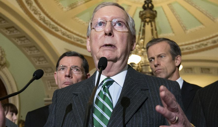 Senate Majority Leader Mitch McConnell of Ky. speaks on Capitol Hill in Washington. State and local governments would be permanently barred from taxing access to the Internet under a bipartisan compromise the Senate began pushing toward final congressional approval. (AP Photo/J. Scott Applewhite)