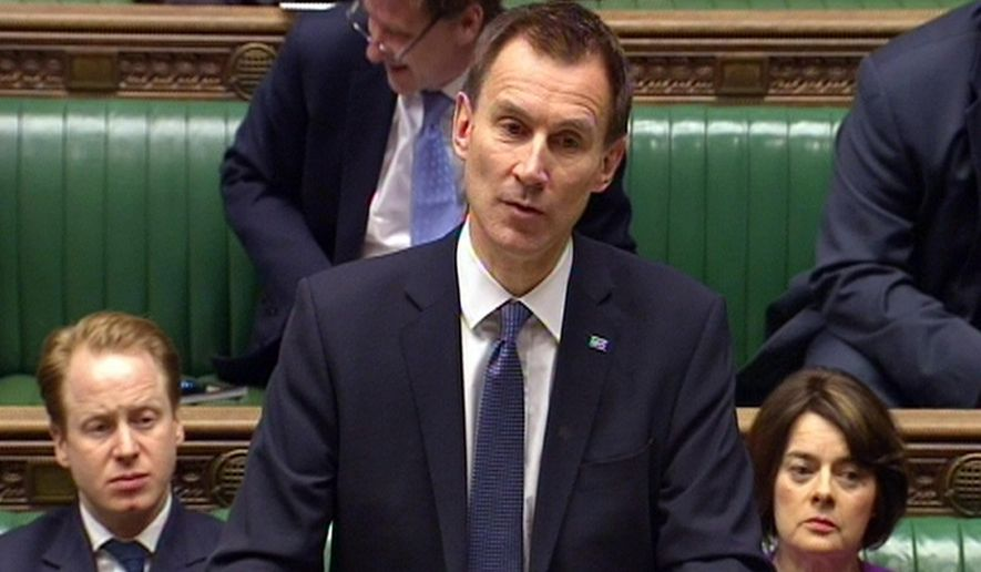 In this image made from video, British Health Secretary Member of Parliament Jeremy Hunt delivers a statement to the House of Commons in London, outlining the progress of talks with the British Medical Association (BMA), Thursday Feb. 11, 2016.  Jeremy Hunt told the house Thursday that talks had ended in stalemate, and the Government will now impose its new contract on junior doctors, after talks failed to reach agreement.(image from video / PA via AP)
