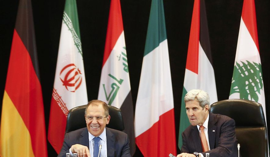 U.S.  Secretary of State  John Kerry, right,  and Russian Foreign Minister Sergey Lavrov, left,  attend  the International Syria Support Group (ISSG) meeting in Munich, Germany, Thursday Feb. 11, 2016, together with members of the Syrian opposition and other officials.  (Michael Dalder/Pool Photo via AP)
