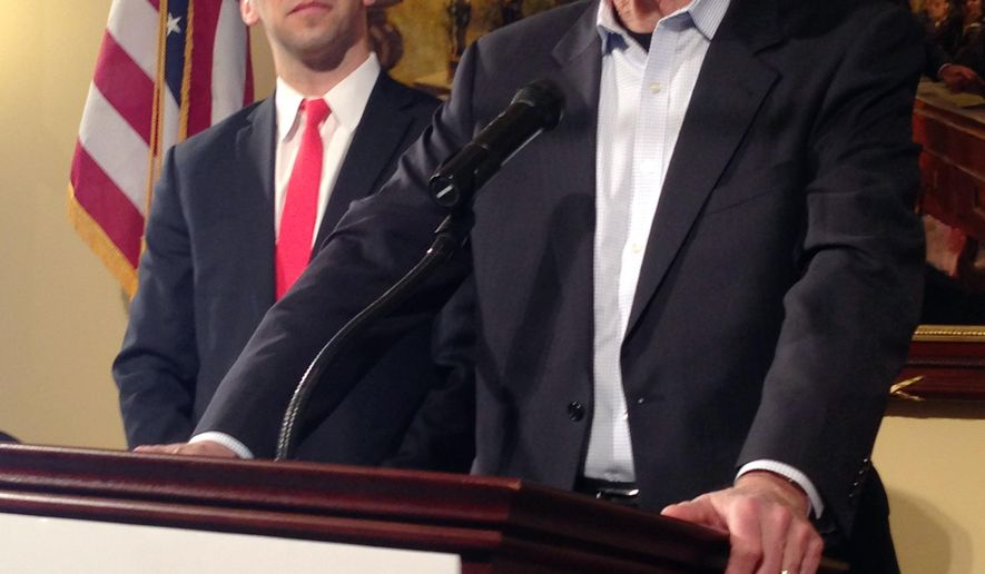 Former Ohio Gov. Richard Celeste, right, explains why he's endorsing Cincinnati councilman P.G. Sittenfeld, left, as the Democratic candidate for U.S. Senate, Thursday, Feb. 11, 2016, in Columbus, Ohio. Celeste, the only Democratic governor to serve two four-year terms, endorsed Sittenfeld over his primary opponent, former Ohio Gov. Ted Strickland, saying Sittenfeld has the best chance of winning against GOP incumbent Sen. Rob Portman in November. (AP Photo/Andrew Welsh-Huggins)