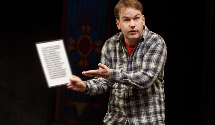 """In this image released by Joan Marcus, Mike Birbiglia appears during a performance of his new stage comedy """"Thank God for Jokes,"""" in New York. (Joan Marcus via AP)"""