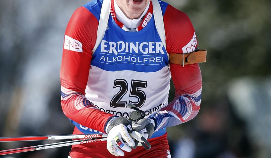 Johannes Thingnes Boe of Norway enters the shooting range on his way to winning the sprint competition during the World Cup Biathlon, Thursday, Feb. 11, 2016, in Presque Isle, Maine. (AP Photo/Robert F. Bukaty)