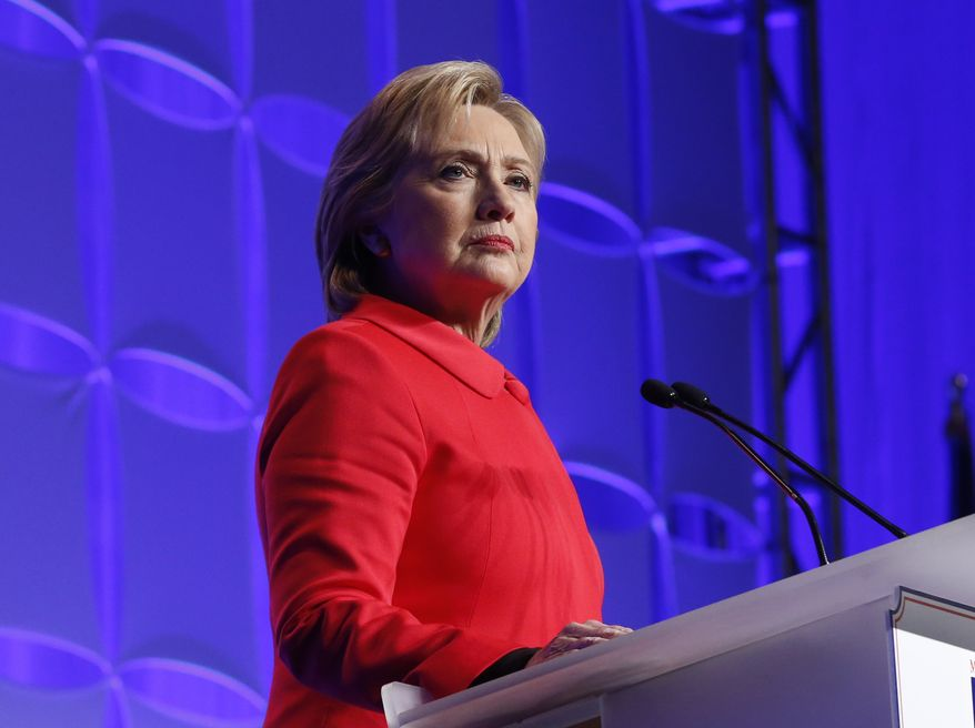 Democratic presidential candidate, Hillary Clinton, speaks at Minnesota's Democratic-Farmer-Labor party's Humphrey-Mondale dinner, Friday, Feb. 12, 2016, in St. Paul, Minn. (AP Photo/Jim Mone)