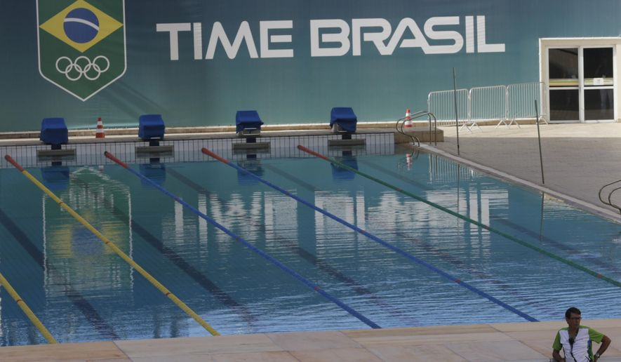 A pool at the Maria Lenk Aquatics Center which will host the synchronized swimming and diving competitions during the 2016 Olympic Games, is shown to the press, in Rio de Janeiro, Brazil, Friday, Feb. 12, 2016. Between February 19-24, Maria Lenk Center will host the FINA World Diving Cup, a test-event for the preparation of the city to the Rio 2016 Games. (AP Photo/Silvia Izquierdo)