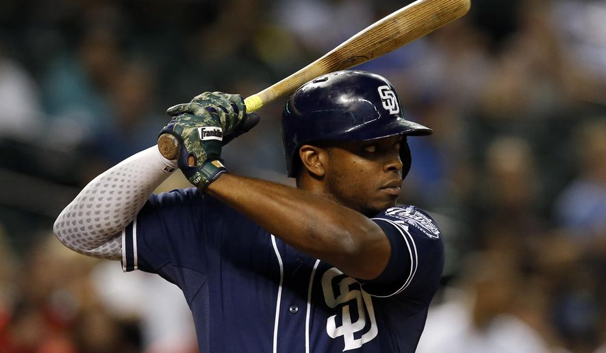 FILE- In this Sept. 15, 2015, file photo, San Diego Padres left fielder Justin Upton looks to hit in the sixth inning of a baseball game against the Arizona Diamondbacks in Phoenix. Upton is among the top players to join the AL Central. (AP Photo/Rick Scuteri, File)