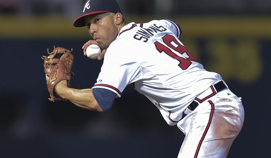 FILE - In this Sept. 30, 2015, file photo, Atlanta Braves shortstop Andrelton Simmons throws to first base for an out on Washington Nationals' Wilson Ramos during a baseball game in Atlanta. Simmons is among the top players to join the AL West. (AP Photo/Jon Barash, File)