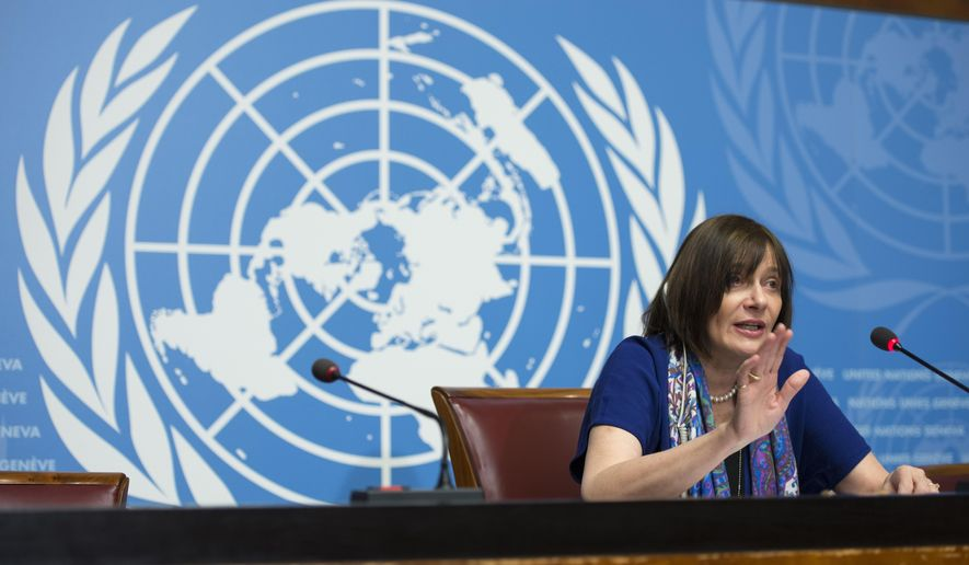 "Marie-Paule Kieny, Assistant Director-General, Health Systems and Innovation,  of World Health Organization, WHO, speaks during a press conference  at the European headquarters of the United Nations, in Geneva, Switzerland, on Friday, Feb. 12, 2016.  The World Health Organization says possible Zika vaccines are at least 18 months away from large-scale trials. WHO assistant director-general for health systems and innovation Marie-Paule Kieny says the U.N. health agency's response is ""proceeding very quickly"" and 15 companies or groups have been identified as possible participants in the hunt for vaccines.  (Martial Trezzini/Keystone via AP)"