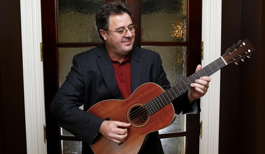 "In this Feb. 1, 2016 photo, Vince Gill poses for a photo at his home in Nashville, Tenn. Gill's latest album, ""Down To My Last Bad Habit,"" comes out Friday, Feb. 12.  (Photo by Donn Jones/Invision/AP)"