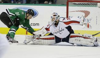 Washington Capitals goalie Braden Holtby (70) defends the goal against Dallas Stars left wing Antoine Roussel (21) during the first period of an NHL hockey game Saturday, Feb. 13, 2016, in Dallas. (AP Photo/LM Otero)