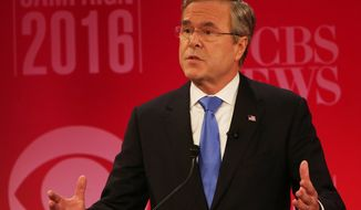 Republican presidential candidate, former Florida Gov. Jeb Bush speaks during the CBS News Republican presidential debate at the Peace Center, Saturday, Feb. 13, 2016, in Greenville, S.C. (AP Photo/John Bazemore)