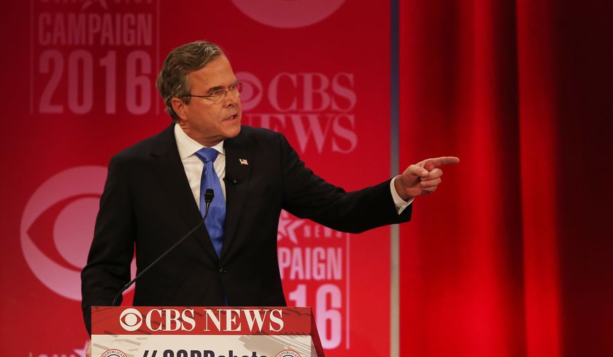 Republican presidential candidate, former Florida Gov. Jeb Bush  responds to Republican presidential candidate, businessman Donald Trump during the CBS News Republican presidential debate at the Peace Center, Saturday, Feb. 13, 2016, in Greenville, S.C. (AP Photo/John Bazemore)