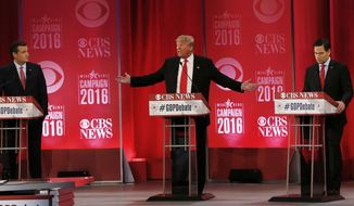 Republican presidential candidate, businessman Donald Trump speaks about Republican presidential candidate, Sen. Ted Cruz, R-Texas, left, as Republican presidential candidate, Sen. Marco Rubio, R-Fla., right, during the CBS News Republican presidential debate at the Peace Center, Saturday, Feb. 13, 2016, in Greenville, S.C. (AP Photo/John Bazemore)