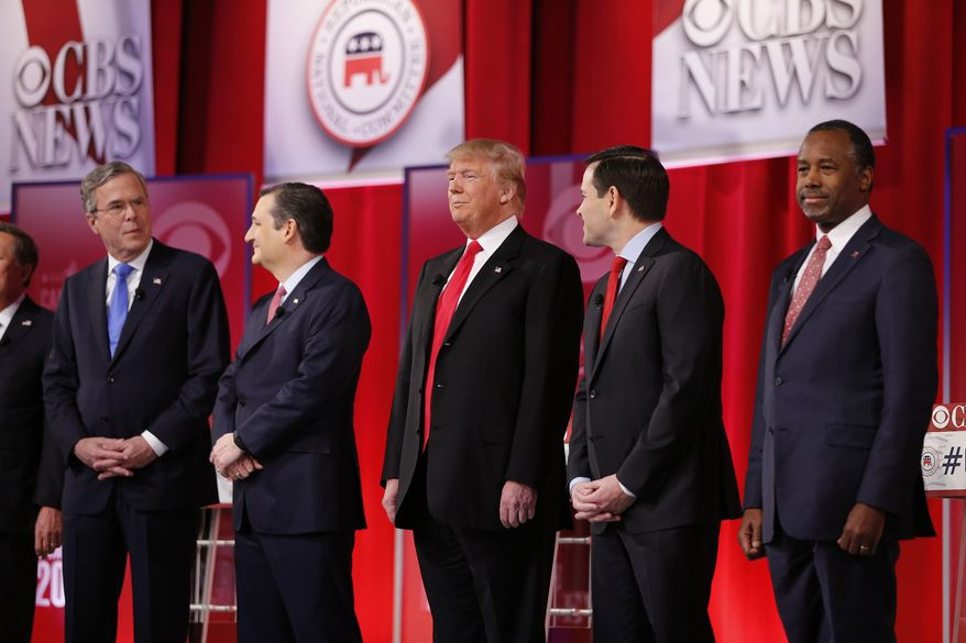 Republican presidential candidates, from left, Ohio Gov. John Kasich, former Florida Gov. Jeb Bush, Sen. Ted Cruz, R-Texas, businessman Donald Trump, Sen. Marco Rubio, R-Fla., retired neurosurgeon Ben Carson take the stage before the CBS News Republican presidential debate at the Peace Center, Saturday, Feb. 13, 2016, in Greenville, S.C. (AP Photo/John Bazemore) ** FILE **