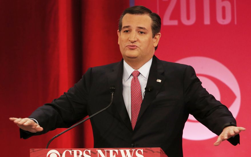 Republican presidential candidate, Sen. Ted Cruz, R-Texas, speaks during the CBS News Republican presidential debate at the Peace Center, Saturday, Feb. 13, 2016, in Greenville, S.C. (AP Photo/John Bazemore)