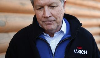 Republican presidential candidate, Ohio Gov. John Kasich listens to a question during a campaign stop, Saturday, Feb. 13, 2016, in Mauldin, S.C. (AP Photo/Paul Sancya)
