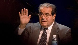 In this Oct., 15, 2006, file photo, Supreme Court Associate Justice Antonin Scalia speaks at the ACLU Membership Conference in Washington. On Saturday, Feb. 13, 2016, the U.S. Marshals Service confirmed that Scalia has died at the age of 79. (AP Photo/Chris Greenberg, File)
