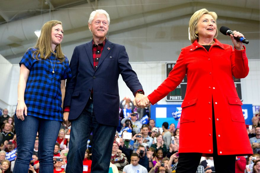 Chelsea, Hillary and Bill Clinton will be headlining 19 fundraisers in 96 hours in support of Mrs. Clinton's presidential campaign (Associated Press)