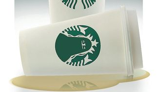 Illustration on Starbucks in Saudi Arabia by Alexander Hunter/The Washington Times