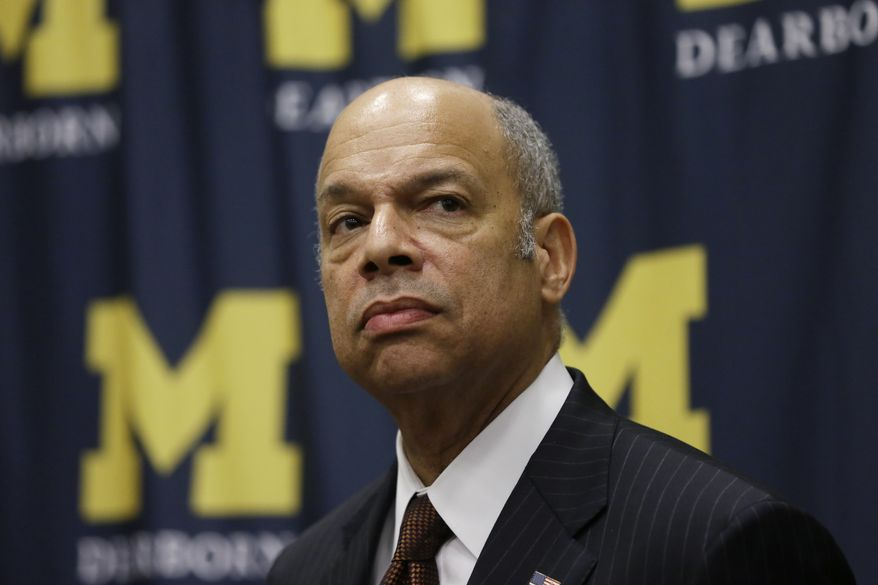 Secretary of Homeland Security Jeh Johnson listens to a question after speaking at the University of Michigan-Dearborn, in Dearborn, Mich., in this Wednesday, Jan. 13, 2016, file photo. (AP Photo/Carlos Osorio, File)