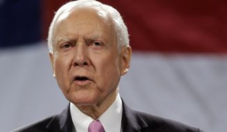 Sen. Orrin Hatch, R-Utah speaks in Sandy, Utah, in this April 26, 2014, file photo. (AP Photo/Rick Bowmer, File)