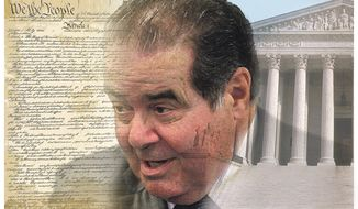 Antonin Scalia   Illustration by Alexander Hunter/The Washington Times