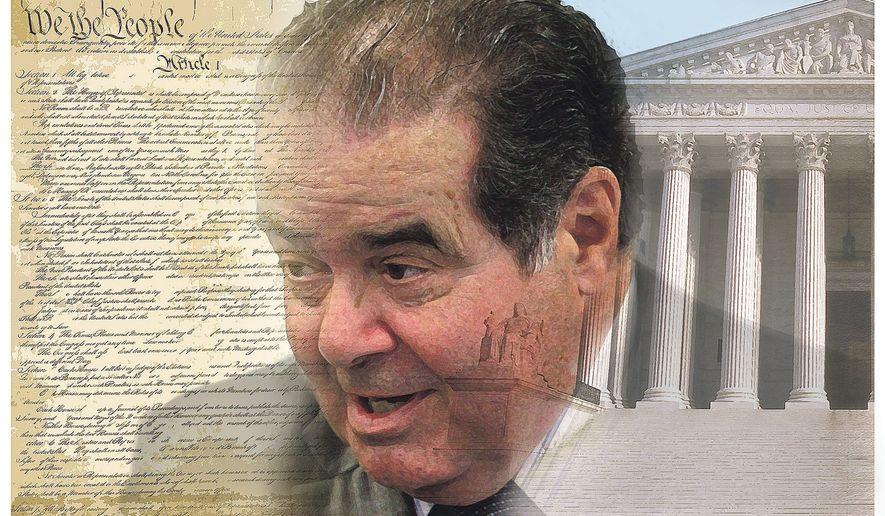 Antonin Scalia   Illustration by Alexander Hunter/The Washington Times