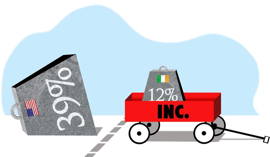 Illustration on the motives behind tax inversions by Alexander Hunter/The Washington Times